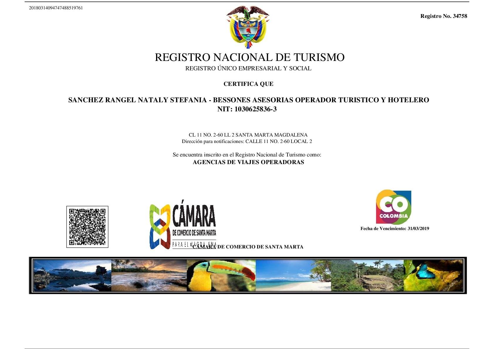 REGISTRO NACIONAL DE TURISMO ACTUALIZADO 2018-001